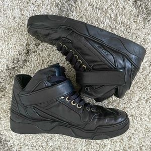 Men's Givenchy Black Leather High Top Sneakers